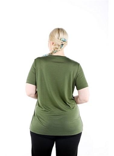 Luokk Blu V Yaka  Basic Kısa Kollu Kadın T-Shirt Haki